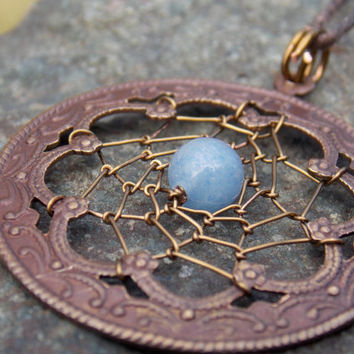 Copper Dream Catcher Necklace with Blue Aventurine