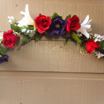Handmade Artificial Floral Swag: Red and Blue Roses with White Lilies