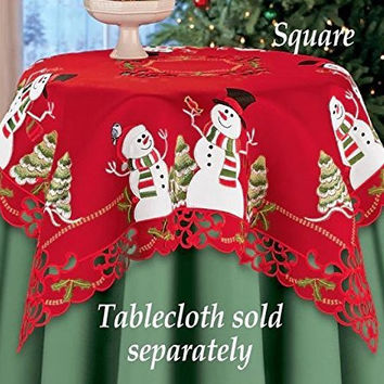 Red Embroidered Lacy Winter Snowman Holly Songbirds Table Square