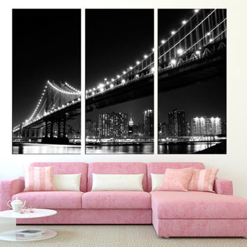 New York City Manhattan Skyline canvas print Brooklyn Bridge canvas wall art, Manhattan wall art, new york canvas art print t268