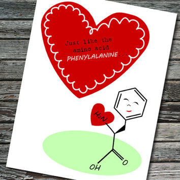 Amino Acid Nerdy Science Valentine | Student, Teacher, Professor, Scientist, Chemist, Biochemistry, Engineer