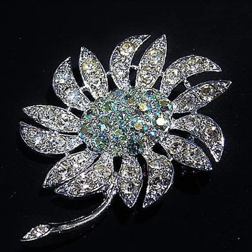 Sarah Coventry Rhinestone Brooch MOUNTAIN FLOWER Mid Century 1960s Fashion Designer Jewelry AB Aurora Borealis Wedding Bride Bridal Summer
