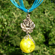 Rose Fried Marble Yellow Charm on Blue Ribbon Necklace