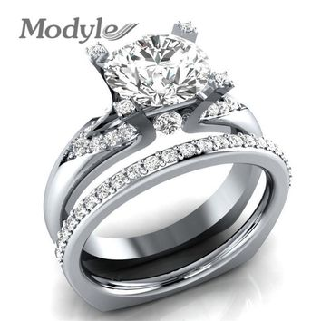 Modyle Princess Cut Zirconia Silver Color Wedding Ring Set Engagement Brand Classic Ring Jewelry For Women