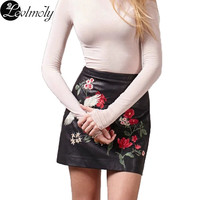 European Style Women's Embroidery Atificial Leather Pencil Skirt YC12676