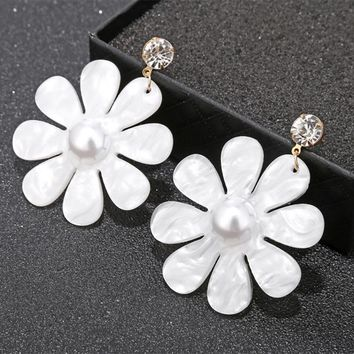 Fashion Kpop Earrings For Women Big White Pink Flower Drop Earrings Mujer Crystal Elegant Jewelry Gift Wedding Accessories