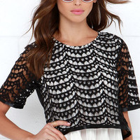 To Top it All Ivory and Black Lace Top