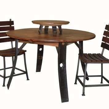 Round Wine Barrel Stave Leg Dining Table 2 Day Designs 546