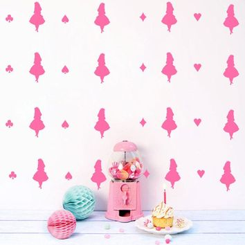 Alice In Wonderland Wall Stickers DIY Decals Kids Children Room Home Decoration Vinyl Wall Art Stickers Vy080