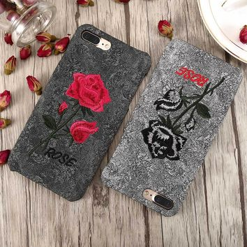 FLOVEME Flower Case For iPhone 6 6S iPhone 7 8 Plus Handmade Embroidery Rose Cases For iPhone X iPhone 5S 5 SE Phone Cover Capa
