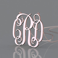Ceremony gift rose plated monogram necklace --1.5 inch monogram 3 initial nameplate necklace