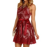 Promo-red Embroidered Mesh Dress