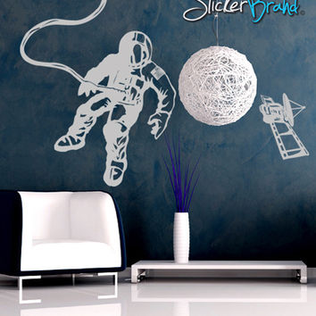 Vinyl Wall Decal Sticker Space Walk Astronaut Satellite #GFoster151