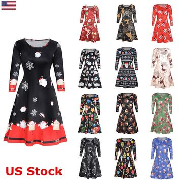 US Women Lady Long Sleeve Xmas Santa Gift Christmas Print Evening Party Dress