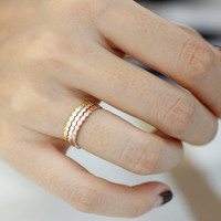 Honeycomb, Beehive ring in 925 Sterling Silver, Stackable Honeycomb Ring, Stacking Rings in White Gold, Rose Gold, Gold Color