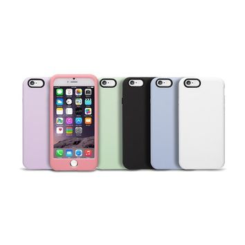 iPhone 6S Case - OZAKI O!coat [MACARON] Silicon Snap Case With Strap Holes and Home Button Cap For iPhone 6 & 6S (4.7) / Headphone Jack / Connector Protectors / Jelly Coating Button - White