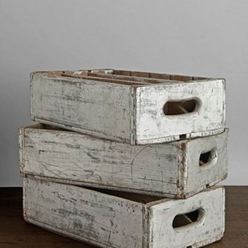 Vintage Silver Wooden Crate