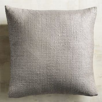 Metallic Silver Basketweave Pillow