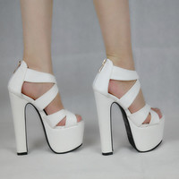 2016 White Sexy Thick with Women Platform Sandals Ladies Pumps 14 cm Super High Heels Shoes Woman Sandalias Mujer Summer style