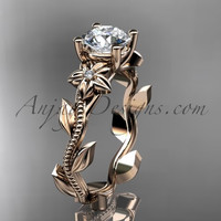 Unique 14kt rose gold diamond flower, leaf and vine wedding ring, engagement ring ADLR223