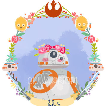 STAR WARS Kylo Ren, BB8 and Rey FLORAL Prints set