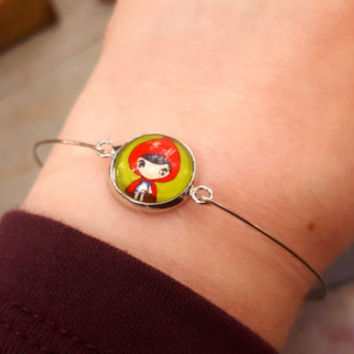 Silver Bracelet Little Red Riding Hood Fairytale Twee Bangle Stackable