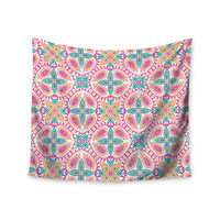 "Nandita Singh ""Boho In Multicolor"" Pink Abstract Wall Tapestry"