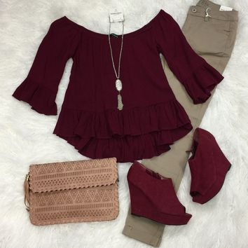 Love Letters Top: Burgundy