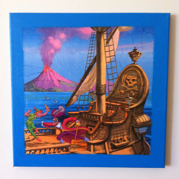 Peter Pan and Captain Hook Canvas Painting by litsakiv on Etsy