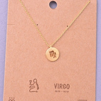 Dainty Circle Coin Virgo Zodiac Symbol Necklace - Gold or Silver
