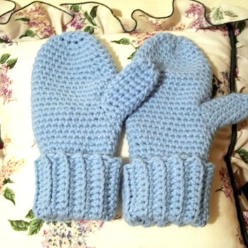 Blue Winter Mittens, Snow Mittens,Thick Women Sized Mittens