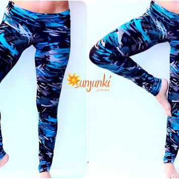 Womens Yoga Pants, Leggings, Stretch, Exercise Pant, Fold Over Straight Leg Tights, Gym Pants, Workout Pants