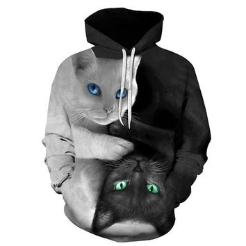 Best Seller Cute Cat 3D Hoodies Prints Hooded Sweatshirt Fashion Clothing