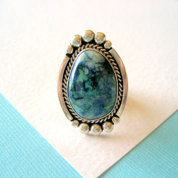 Navajo Chrysocolla and Sterling Ring Size 6 3/4