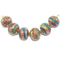 Round pressed stripes beads, elegant beads for Jewelry Making, rondelle beads in rainbow colors with gold, 6 colorful Polymer Clay beads