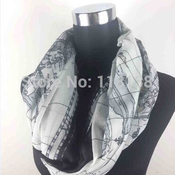 Fashion Old World Map Print Infinity Scarf Women's Accessories, Free Shipping
