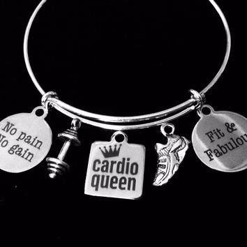 Fit and Fabulous No Pain No Gain Cardio Queen Jewelry Adjustable Bracelet Expandable Silver Charm Bangle Trendy Weights Tennis Shoe Exercise Workout One Size Fits All Gift