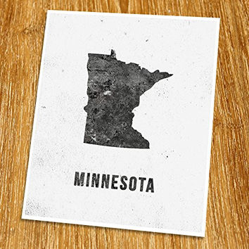 "Minnesota Map Print (Unframed), Modern Map Art, Cafe, Industrial, Loft, Black and White, 8x10"", TE-023"