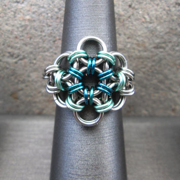Chainmaille Jewelry, Turquoise Flower Ring, Stainless Steel Ring, Metal Flower Ring, Chain Mail, Chainmail, Chain Maille, Sea foam Green
