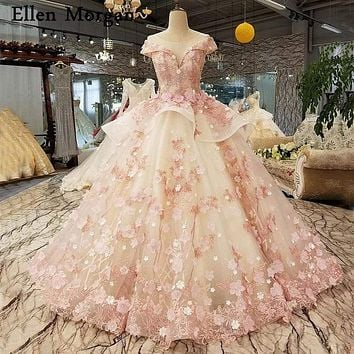 Princess Pink Lace Sheer Neck Puffy Elegant Ball Gowns Formal Dress