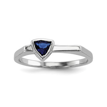 Sterling Silver Rhodium-plated Triangle Blue Glass Stone Ring