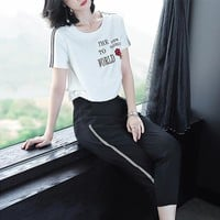 """Adidas"" Women Casual Fashion Letter Print Stripe Short Sleeve T-shirt Trousers Set Two-Piece Sportswear"