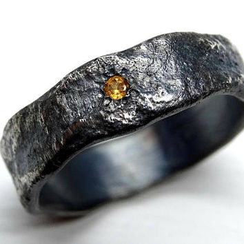 ring wedding floral meteorite meteor mens set with rings black band diamond