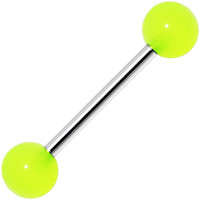 Neon Green GLOW-n-DARK Barbell Tongue Ring | Body Candy Body Jewelry