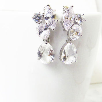 Crystal Bridal Earrings, Bridal Cluster Earrings, Bridesmaids Earrings, Crystal Bridal Earrings, Crystal Studs