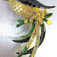 Vintage SPHINX Bird Of Paradise Brooch Pin Enamel Rhinestone Numbered A2385 Figural
