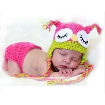 Handmade Owl Style Baby Girl Photography Props Knitting Infant Hat & Bloomers Set  Newborn Crochet Photos Outfits