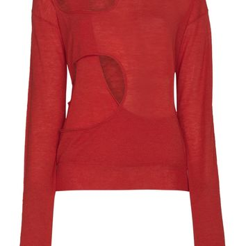 Red Cutout Top by Helmut Lang