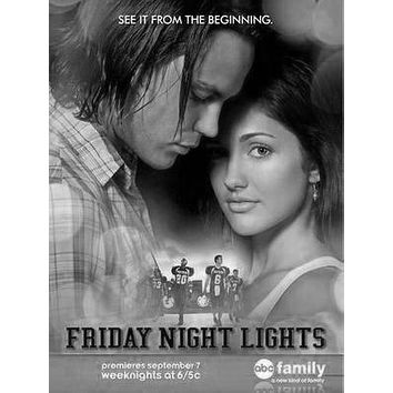 Friday Night Lights poster Metal Sign Wall Art 8in x 12in Black and White