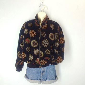 Black Velvet Jacket, Bomber Jacket, 80s Jacket, Hip Hop Abstract Velvet Jacket, Fresh Prince Jacket